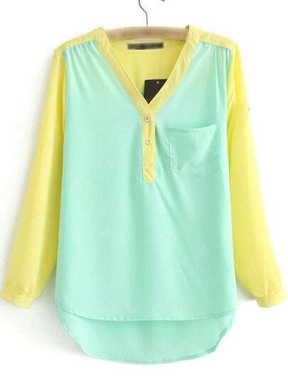 Multicolor Dip Hem Long Sleeve Pocket Blouse