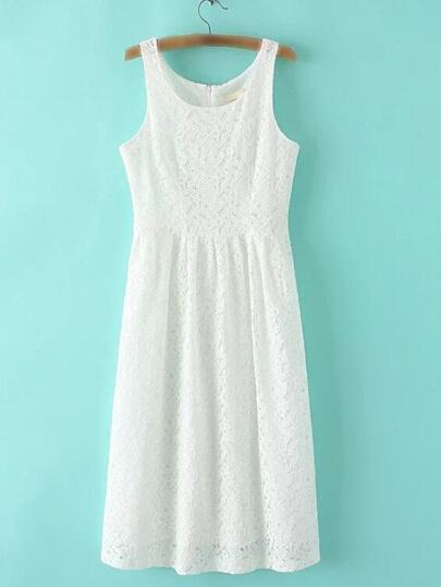 White Zipper Back Sleeveless Lace Midi Dress
