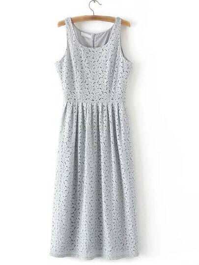 Grey Zipper Back Sleeveless Lace Midi Dress