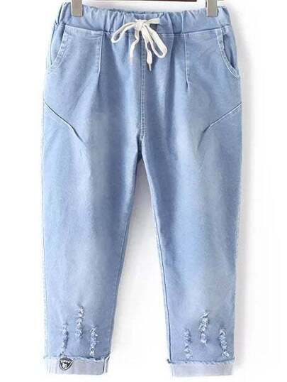 Blue Elastic Tie Waist Ripped Hole Denim Pants