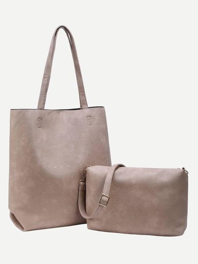 Faux Leather Tote With Crossbody Bag - Khaki