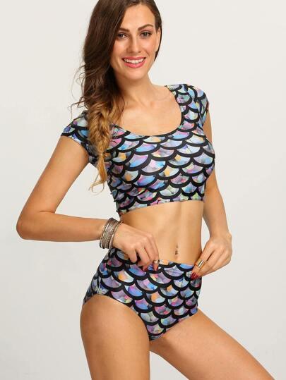 Multicolor Fish Scale Print Crop Rash Guard Swimwear
