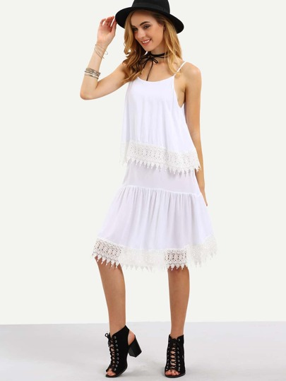 Lace Trimmed Layered Cami Dress - White