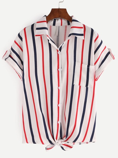 Knot-Front Rolled Sleeve Multicolor Vertical Striped Blouse