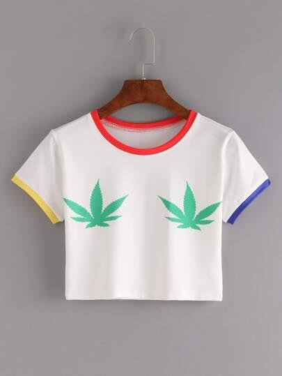 Contrast Trim Leaf Print Crop T-shirt - White