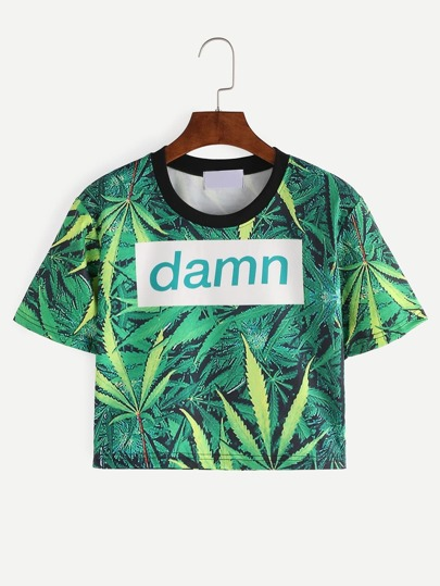 Contrast Neck Leaf Print Crop T-shirt - Green