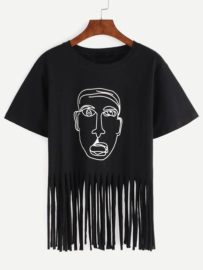 T-shirt motif portrait - Noir