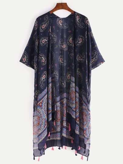 Tassel Trimmed Paisley Print Kimono - Navy