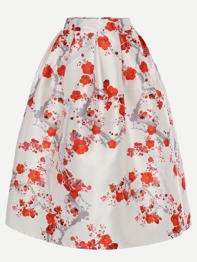 Plum Blossom Print Box Pleated Midi Skirt - White