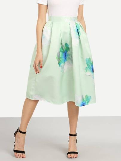 Flower Print Box Pleated Midi Skirt - Mint Green