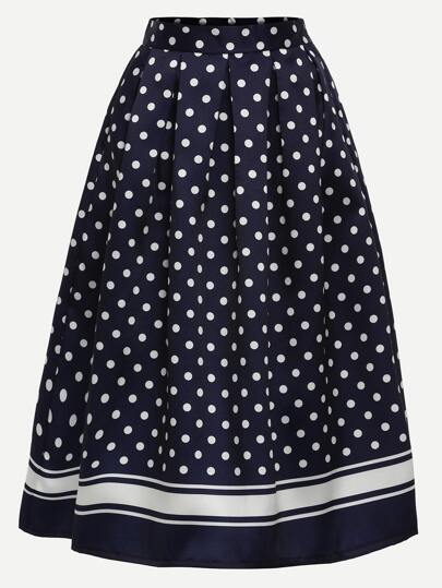 Polka Dot Print Box Pleated Midi Skirt - Navy