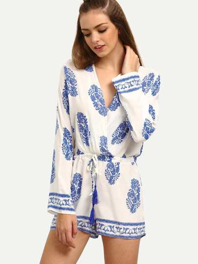 Surplice Front Drawstring Waist Printed Romper - White