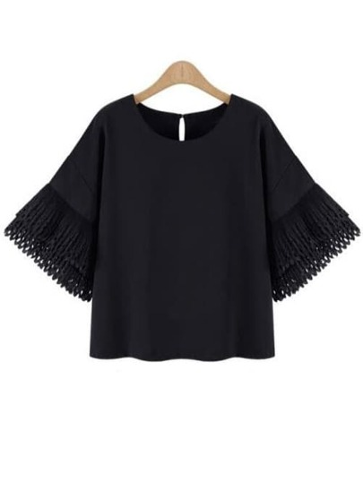 Black Bell Sleeve Buttoned Keyhole Back Chiffon Blouse