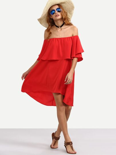 Red Ruffle Off The Shoulder Asymmetrical Dress