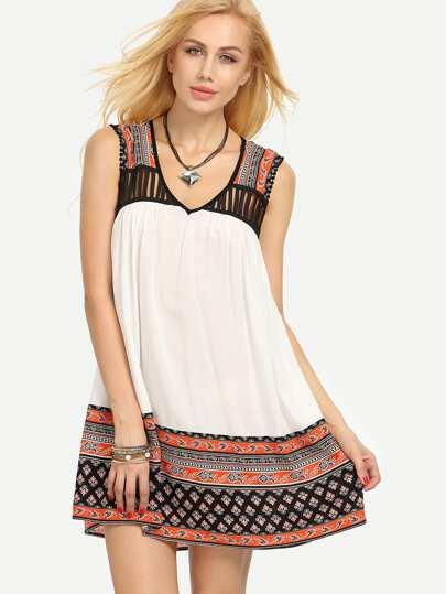 Multicolor Vintage Print Sleeveless Hollow Shift Dress