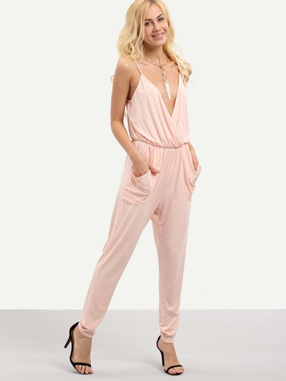 Pink Spaghetti Strap V Neck Backless Pocket Jumpsuit
