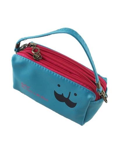 Blue Pu Leather Casual Clutch Bag