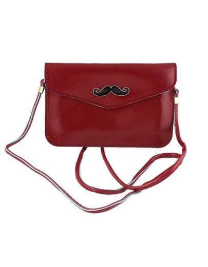 Pochette en similicuir motif moustache - rouge bordeaux