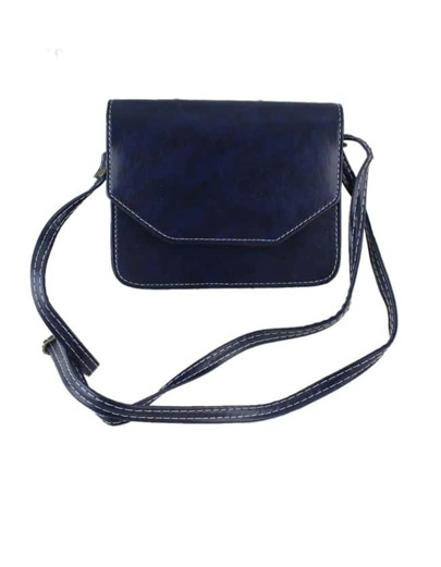 Blue Pu Leather Shoulder Bag