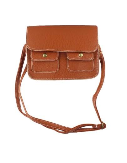 Brown Pu Leather Clutch Handbag