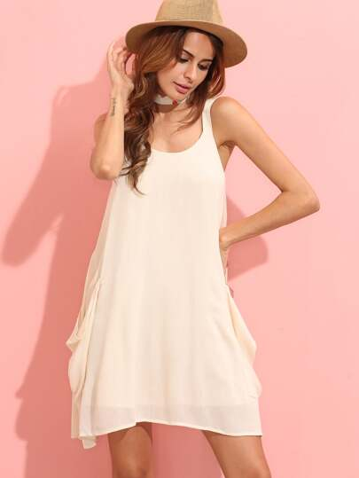 Beige Sleeveless Pocket Shift Dress