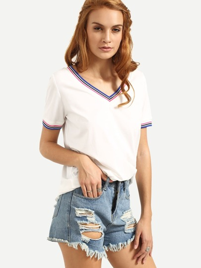 White V Neck Short Sleeve T-shirt