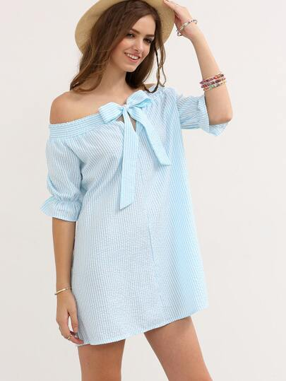 Blue Striped Bow Off The Shoulder Dress
