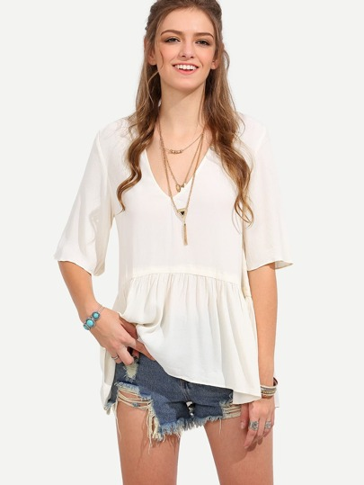 V-neckline Split Back Smock Blouse