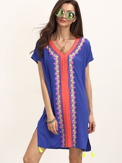 Multicolor V Neck Short Sleeve Shift Dress