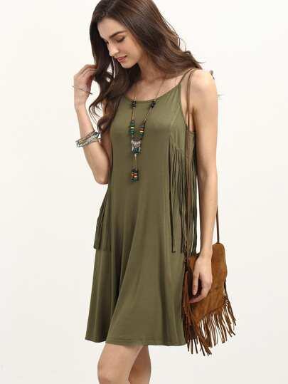 Army Green Spaghetti Strap Fringe Dress