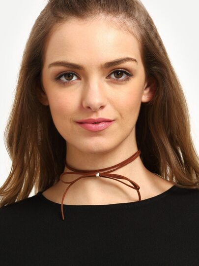 Brown Two Layers Bow Necklace
