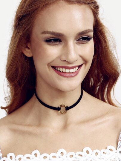 Black Simple Handmade Lace Necklace