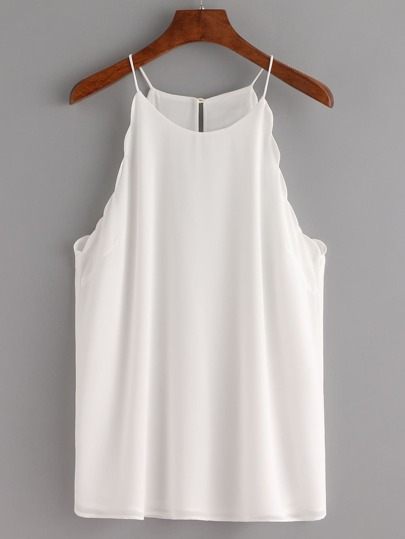 Keyhole Back Scalloped Chiffon Cami Top - White