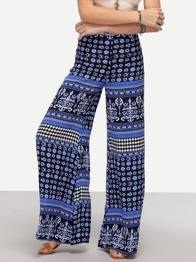 Tribal Print Wide-Leg Pants - Blue