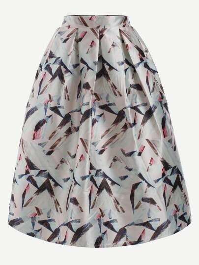 Multicolor Abstract Print Box Pleated Midi Skirt