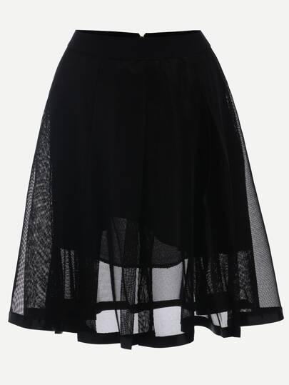 Mesh Overlay Midi Skirt - Black
