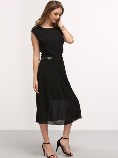 Buckle Waist Folded Chiffon Dress - Black