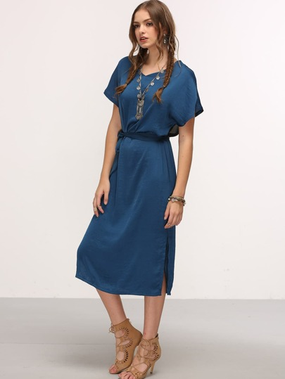 Belted Contrast Mesh Insert Shift Dress - Blue