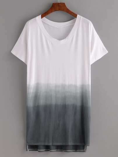 Grey Ombre High-Low Tee Dress
