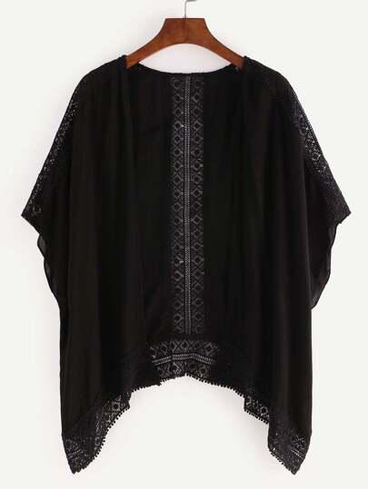 Black Crochet Hollow Out Kimono