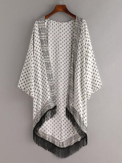 Tribal Print Contrast Fringe Kimono