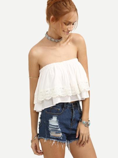 White Crochet Ruffle Crop Bandeau Top
