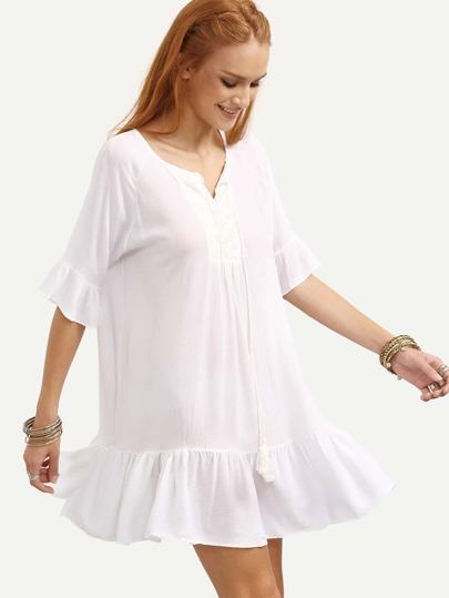 Lace Applique Tassel Tie Ruffled Dress - White