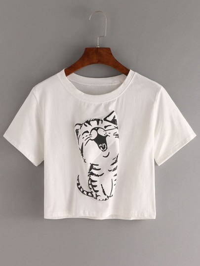 Cat Print Crop T-shirt - White