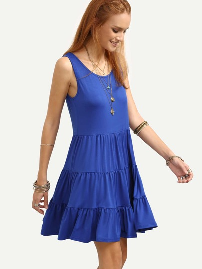 Tiered Swing Tank Dress - Blue