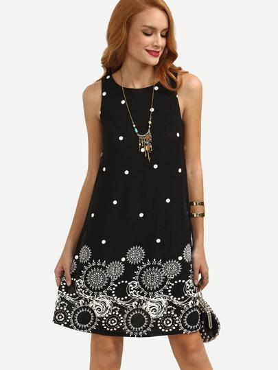 Vestido lunares sin manga holgado -negro