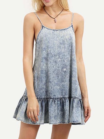 Blue Spaghetti Strap Backless Ruffle Dress
