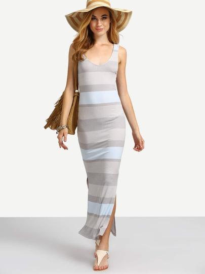 Multicolor Striped Sleeveless Backless Split Dress