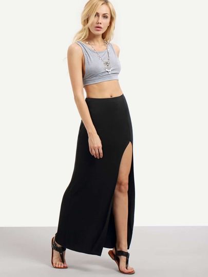 Open Leg Full Length Skirt