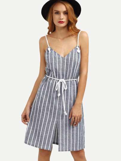 Multicolor Striped Spaghetti Strap Backless Dress
